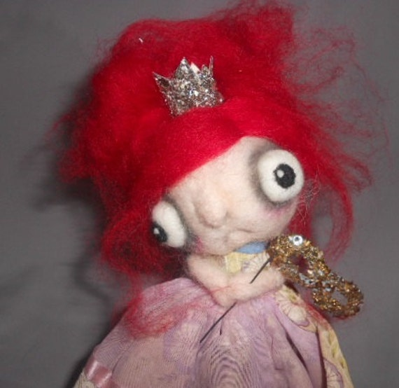 Princess Red needle felted art doll