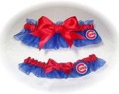 Chicago Cubs Wedding Garter Set  Handmade   Keepsake and Toss Bridal rrr