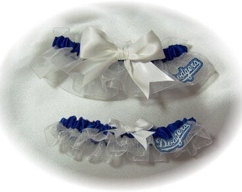 Handmade Wedding Garter Set LA Dodgers Keepsake and Toss LA Bridal wrw