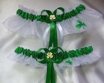 Irish, St. Patricks Day Wedding Garter Set Celtic