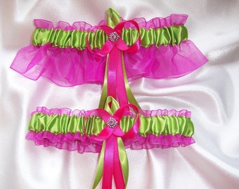 Elegant Hot Pink and Lime Green Wedding Garter Set - bridal lingerie