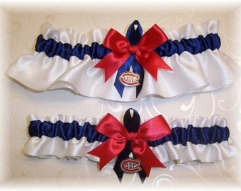 Montreal Canadiens Wedding Garter Set with charms   Handmade  Keepsake and Toss   Satin W-NRN