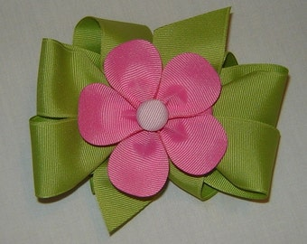 3 in One Hairbow in Kiwi and Hot Pink