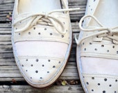 size 9 perforated creme leather oxfords 40