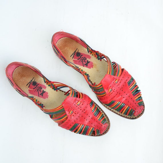 size 7 multicolor leather sandals
