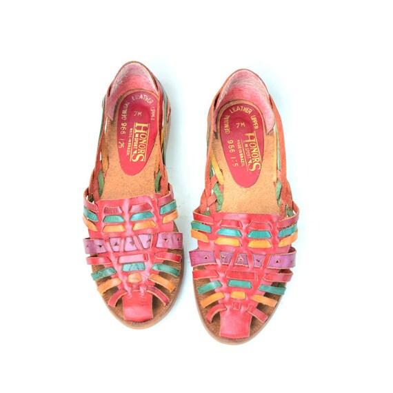 size 7 multicolor leather huarache style sandals