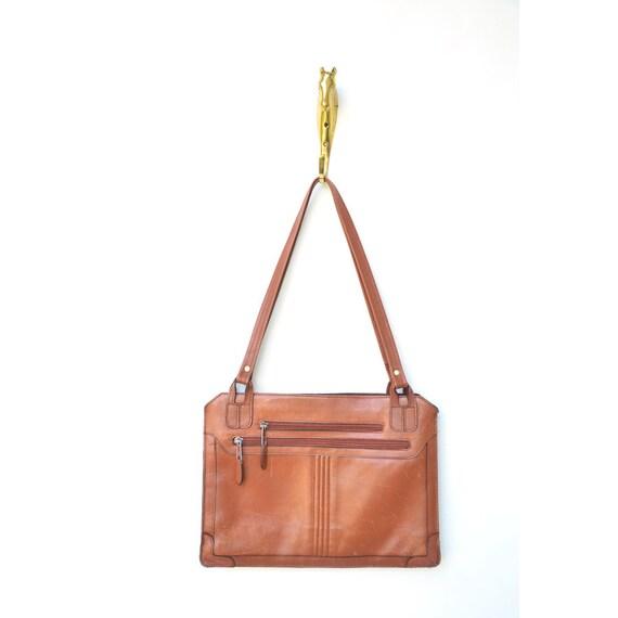 vintage brown 70s leather handbag