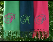 Single Initial Women's Personalized Scarf - Monogrammed Script girls adult teacher practical cashmere feel warm bridesmaids