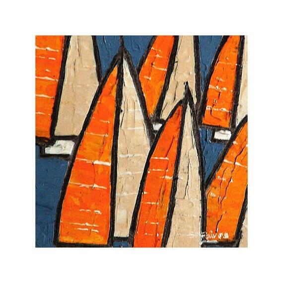 Orange Sails -  original art abstract seascape painting