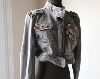 Military Crop Jacket Rustic Tattered Stone Brown Denim Post Apocalyptic Dystopian