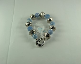Blue Lace Agate and Silver bracelet-B13