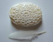 RESERVED Crocheted Lace Stone, Made with White Thread and Yellow Calcite Stone, Handmade by Monicaj