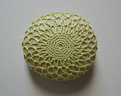 Holidays, Entertaining, Crochet Lace Stone, Thanksgiving, Decor, Table Decoration, Handmade, Original, Collectible, Woodland, Light Green
