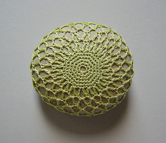 Holidays, Entertaining, Crochet Lace Stone, Thanksgiving, Decor, Table Decoration, Handmade, Original, Collectible, Woodland, Light Green