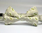 Boys Bow Tie Green and Gray Modern Dot Bowtie READY TO SHIP