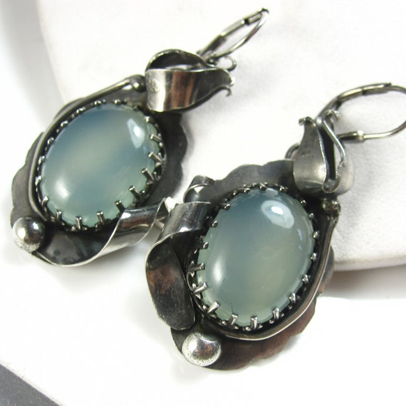 In Bloom - Aqua Chalcedony and Sterling Flower Earrings