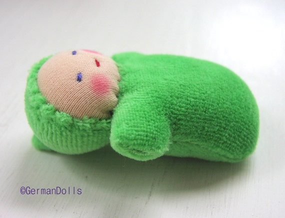 Green Pocket Baby, Baby Doll made in the Waldorf Tradition, Waldorf toy,