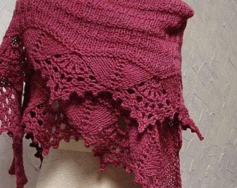 Shawl, Rose Pink Lace Wool Shawl
