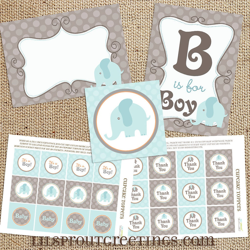 blue elephant baby shower printable decorations instant
