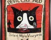 Cat Art - Silent Mylo Tuxedo Cat - Devil Cat Red - Wine Art - Framed Canvas Art Print -  6 x 16 inches - Funny Cat Art
