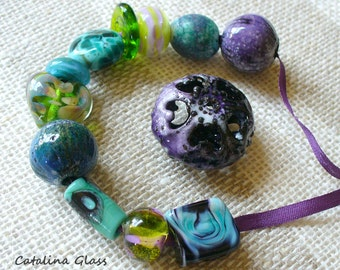 Bead Salad Eclectic Mix of Lampwork and Metal by Catalina Glass SRA  Purple Green