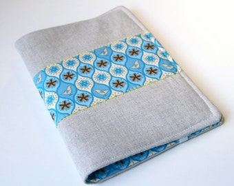 Notepad Holder Organizer, Planner Cover,  Fabric Portfolio, List Taker - Blue Bird Linen
