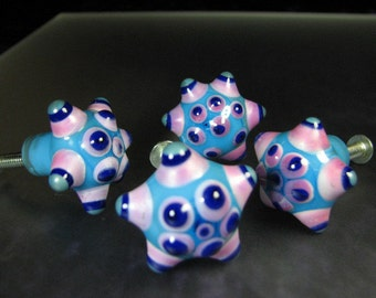 Cabinet Knobs Drawer Pulls Lampwork Glass Multi SRA