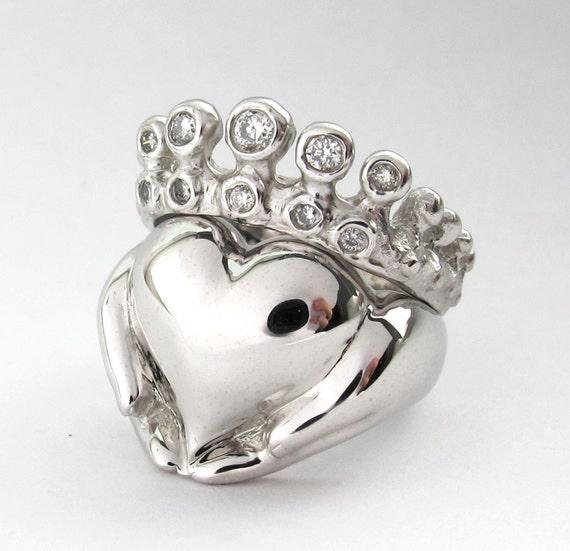 claddagh wedding set white gold engagement ring
