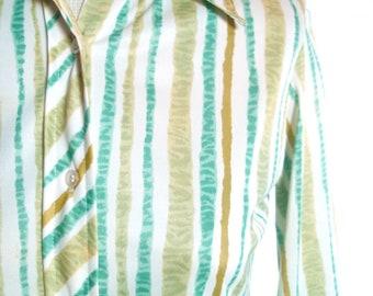 Vera Neumann Shirt - Bamboo Stripe - a rare, vintage 1960's hand-painted shirt