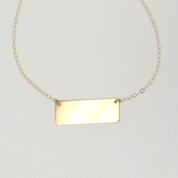 gold bar nameplate necklace 14k yellow white or rose gold. Black Bedroom Furniture Sets. Home Design Ideas