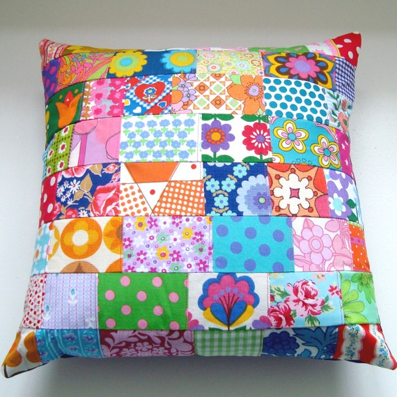 Large Vintage Retro Patchwork Cushion / Pillow Cover - 18 inches - vintage retro fabrics