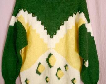 Beautiful Geometric pattern Wool  Beaded Sweater