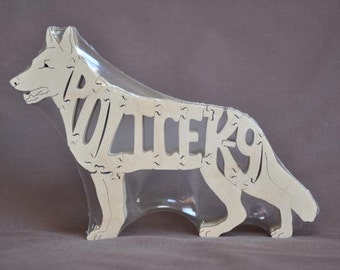 Police K-9 German Shepherd Dog Animal Puzzle Wooden Toy Hand  Cut with Scroll Saw