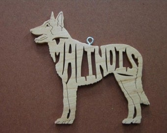 Malinois Decoration Ornament Scroll Saw Wood Cut Out