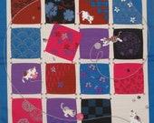 Furoshiki  Blue 'Playful Cats' Cotton Japanese Fabric 50cm w/Free Insured Shipping