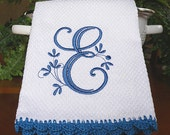 Monogrammed Dish Towel, Monogrammed Kitchen Towel Blue Crocheted Edge Towel