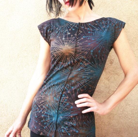 RESERVED - Will the Night  - iheartfink Handmade Hand Printed Metallic Starburst Top