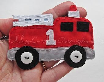 Firetruck Applique, Firetruck Scrapbook Embellishment, Firetruck, Firetruck Embellishment, Truck , Fabric Firetruck Made to Order, Patch