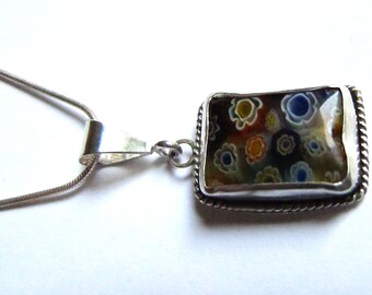 Millefiore Glass Pendant on Silver Snake Chain Necklace