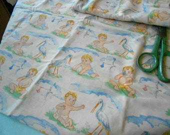 Vintage style Blonde Baby and Stork - 1 Yard of new fabric
