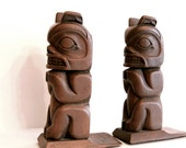 Vintage tiki carved wood style bookends, retro home decor