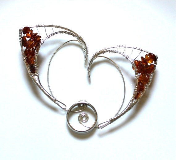 Silver elf ears with amber globs