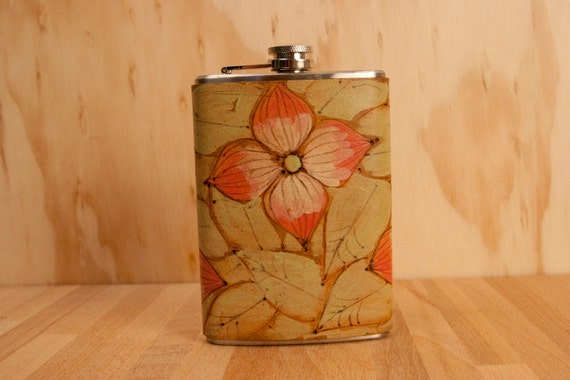 Rebecca Flask - Leather and Stainless Steel - Dogwood Flowers in Green, Pink and Antique Brown