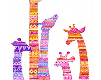Giraffe Art Colorful Tribal Print Bright Colors