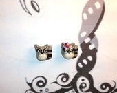 Mr. and Mrs. Raccoon polymer clay beads