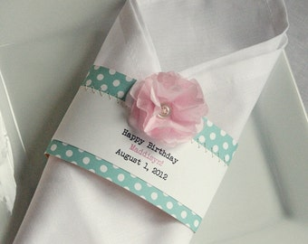 25 Birthday Baby Shower or Wedding Napkin Ring Pink Tissue Paper Flower Button and Teal Blue Personalized fundraiser or business event