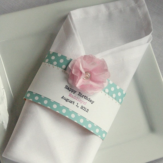Items Similar To 25 Birthday Baby Shower Or Wedding Napkin Ring Pink Tissue Paper Flower Button