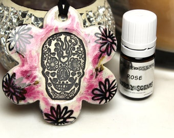 Rose Scented Day of the Dead Skull Ceramic Necklace with Rose Essential Oil in Pink