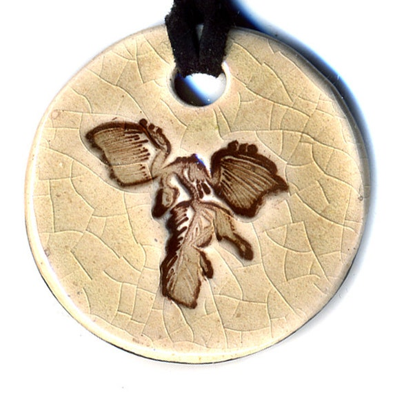 Archaeopteryx Ceramic Necklace in Mocha Crackle