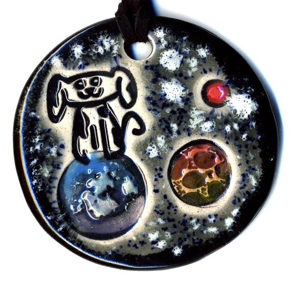 Mars Rover Ceramic Necklace In Black and Gray